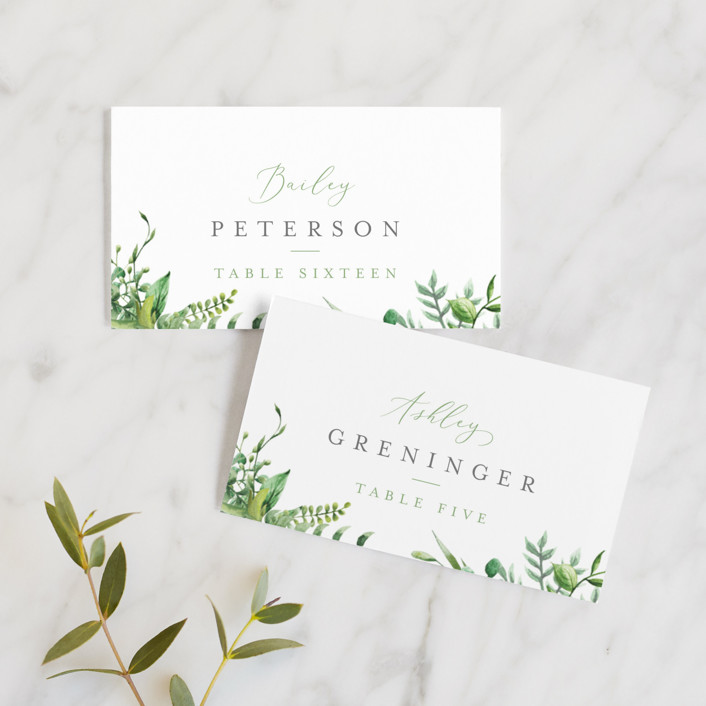 """""""Bright & Green"""" - Wedding Place Cards in Sprig by Amanda Day."""