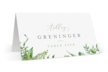 This is a green wedding place card by Amanda Day called Bright & Green with standard printing on signature in placecard.