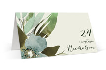 This is a green wedding place card by Grace Kreinbrink called Gardens Edge with standard printing on signature in placecard.