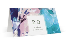 This is a blue wedding place card by Grace Kreinbrink called Blissful Blooms with standard printing on signature in placecard.