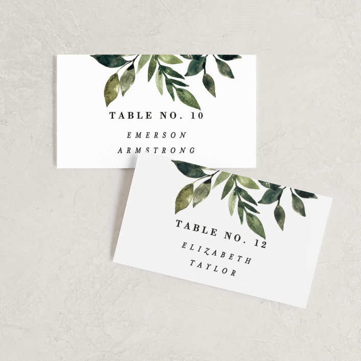 """Clearing"" - Wedding Place Cards in Leaf by Alethea and Ruth."