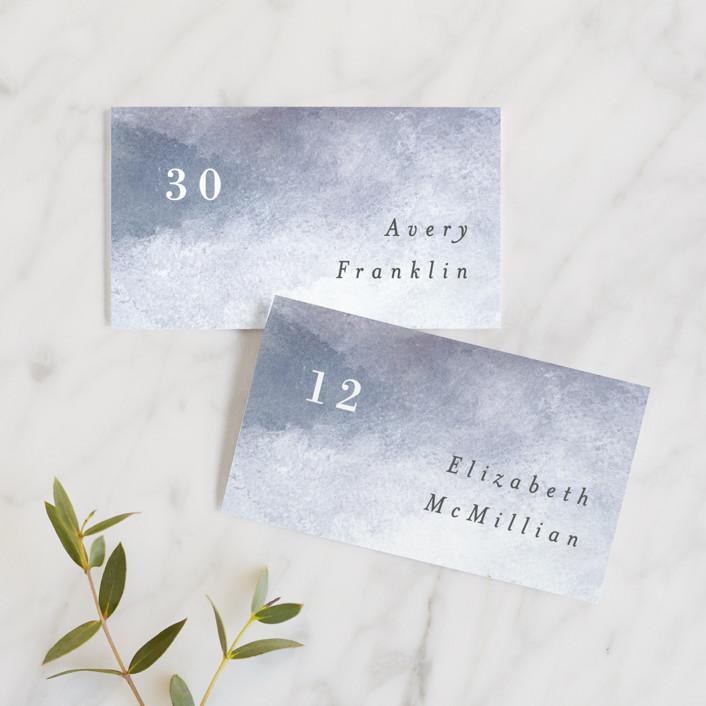"""Sea Splash"" - Modern Wedding Place Cards in Amethyst by Alethea and Ruth."