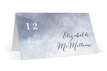 This is a blue wedding place card by Alethea and Ruth called Sea Splash with standard printing on signature in placecard.