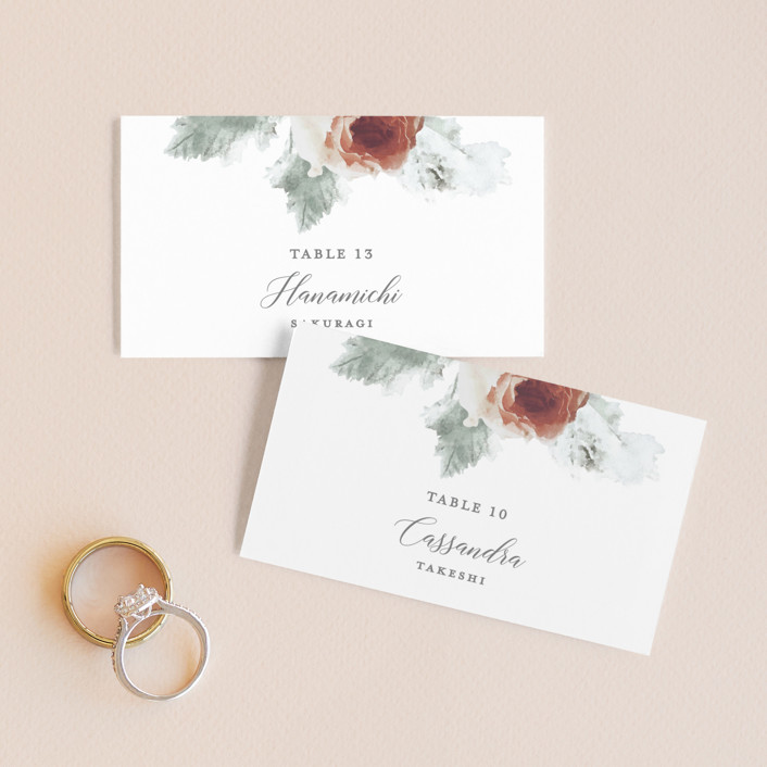 """""""rose drop"""" - Wedding Place Cards in Rose by Cassandra Imagines."""