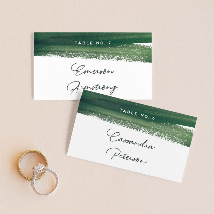 """""""Evergreens Watercolor"""" - Wedding Place Cards in Forest by Yao Cheng Design."""