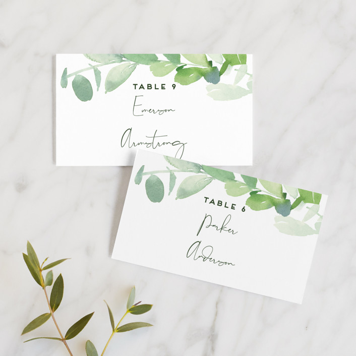 """Soft Eucalyptus"" - Wedding Place Cards in Garden by Yao Cheng Design."