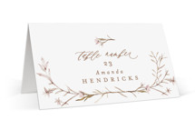 This is a brown wedding place card by Phrosne Ras called ring box with standard printing on signature in placecard.