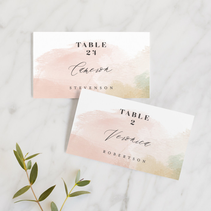 """""""Morning Mist"""" - Modern Wedding Place Cards in Blush by Carrie ONeal."""