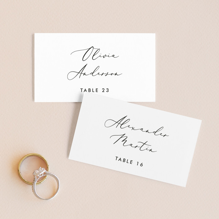 """Scripted Romance"" - Wedding Place Cards in Classic by Katherine Moynagh."
