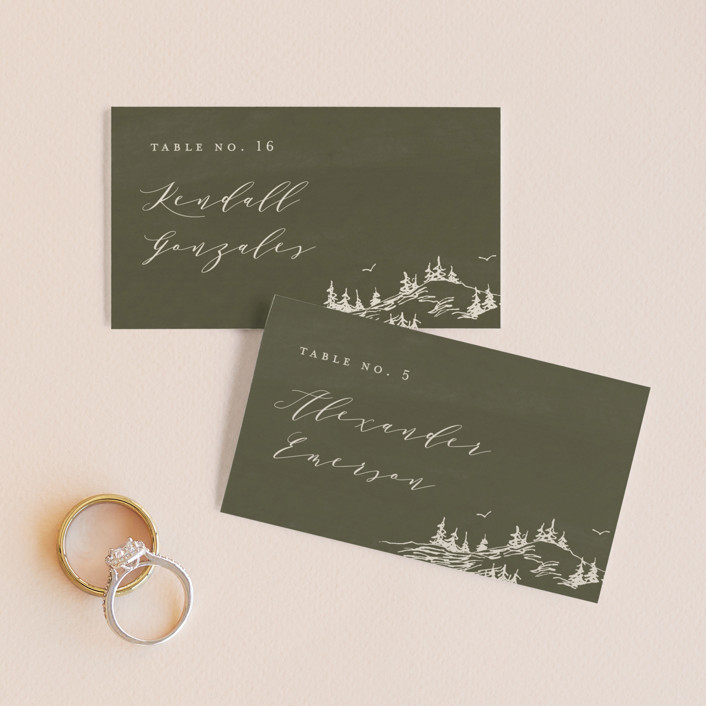 """""""into the mountains"""" - Rustic Wedding Place Cards in Olive by Helen Halik."""