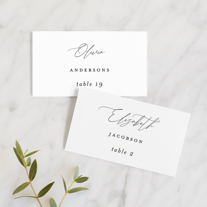 """Bare"" - Wedding Place Cards in Cloud by Kelly Nasuta."