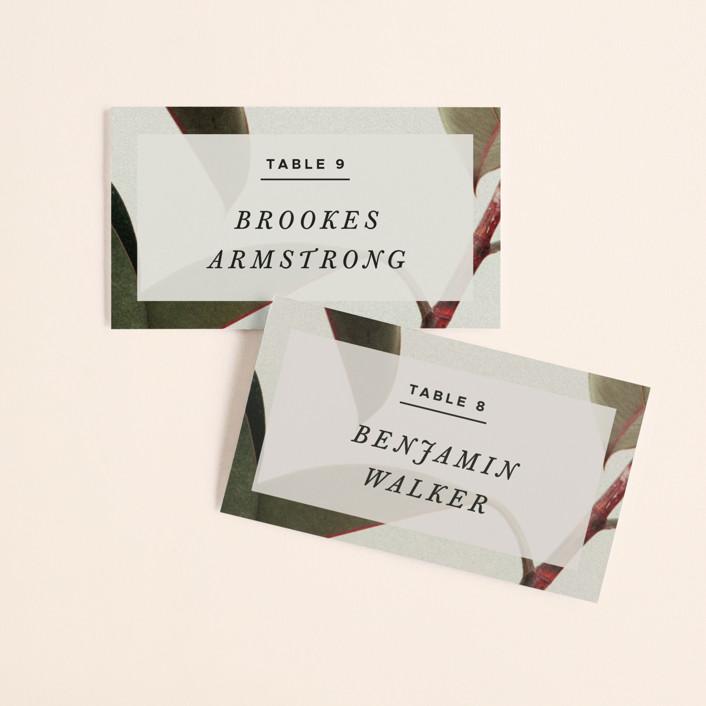 """Powder Room Florals"" - Wedding Place Cards in Cream by Ariel Rutland."