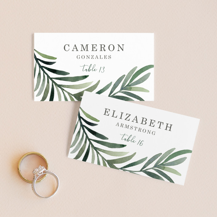 """""""Green leaf frame"""" - Wedding Place Cards in Limestone by Yaling Hou Suzuki."""