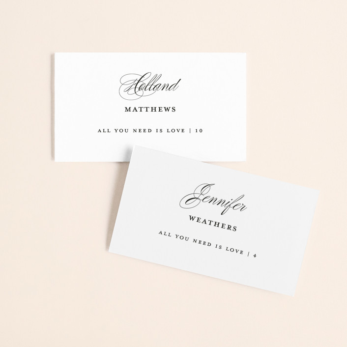 """""""Gracefully"""" - Wedding Place Cards in Black Tie by Laura Hamm."""