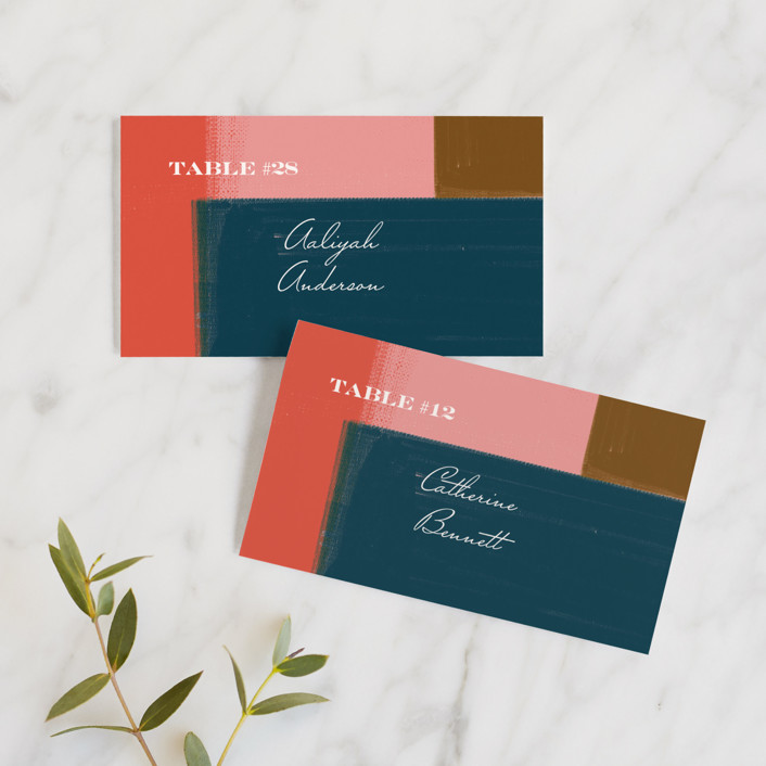 """""""painted colorblock"""" - Modern Wedding Place Cards in Poppy by Angela Marzuki."""