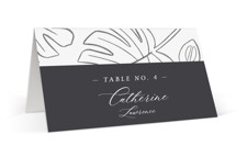 This is a black and white wedding place card by Griffinbell Paper Co. called Crescendo with standard printing on signature in placecard.