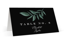 This is a black wedding place card by Alethea and Ruth called Forest Crest with standard printing on signature in placecard.