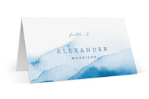 This is a blue wedding place card by Yuliya Evseeva called Watercolor waves with standard printing on signature in placecard.