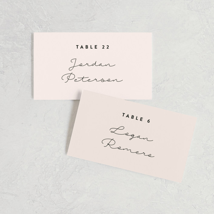 """""""Just the Two of Us"""" - Wedding Place Cards in Blush by Jennifer Wick."""