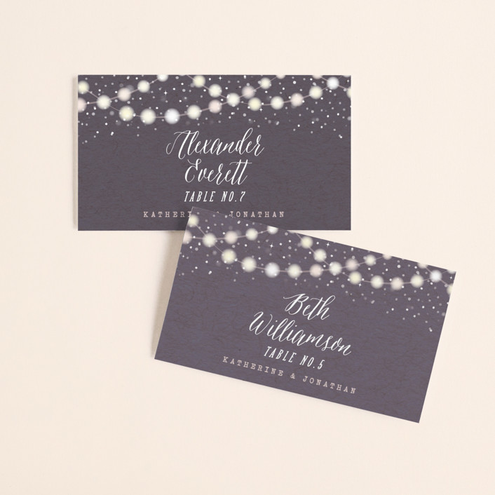 """Garden Lights"" - Rustic Wedding Place Cards in Plum by Hooray Creative."