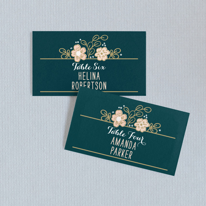 """""""Country Florals"""" - Wedding Place Cards in Navy by Alethea and Ruth."""