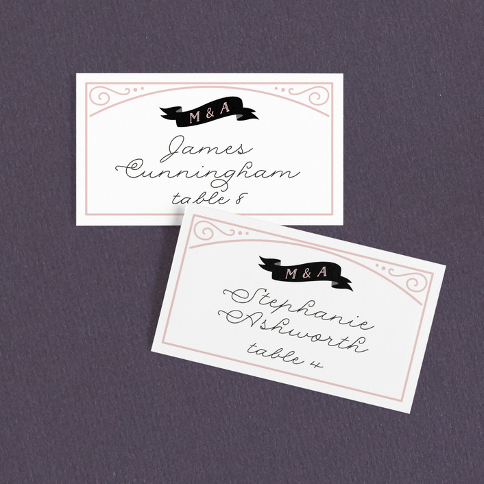 """Romantic Revelry"" - Vintage Wedding Place Cards in Blush by GeekInk Design."