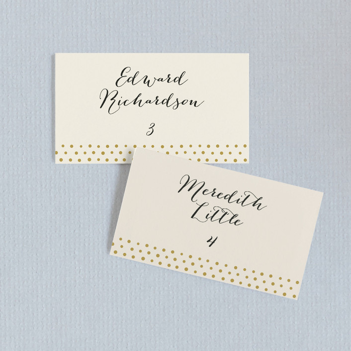 """""""Milkglass Border"""" - Whimsical & Funny Wedding Place Cards in Gold Patina by Jennifer Wick."""