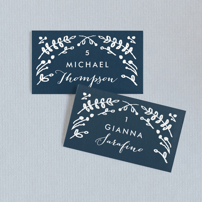 """""""Floral Frame Square"""" - Floral & Botanical Wedding Place Cards in Navy by Lori Wemple."""