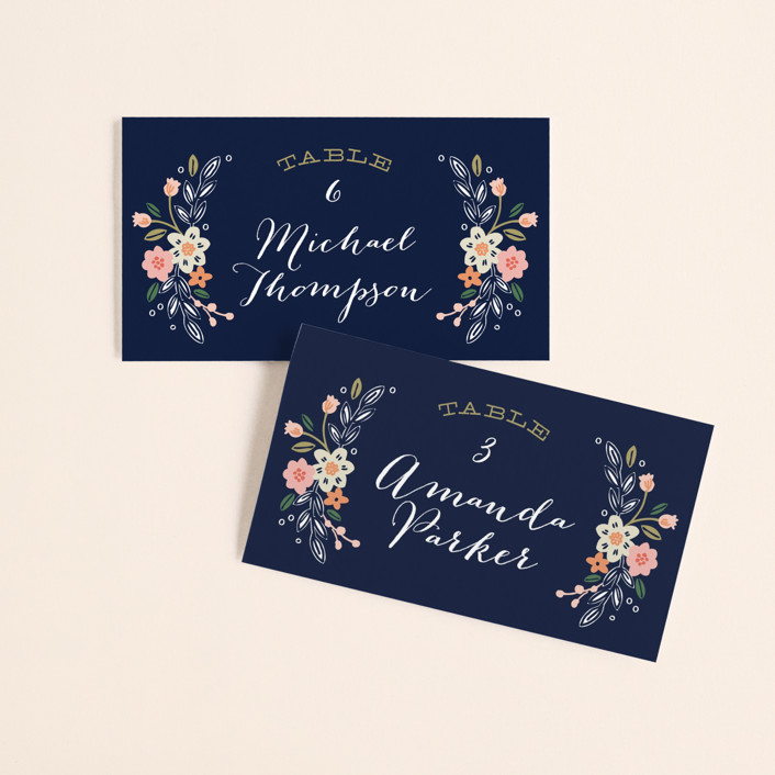"""""""Wildflower Crest"""" - Rustic Wedding Place Cards in Navy by Alethea and Ruth."""