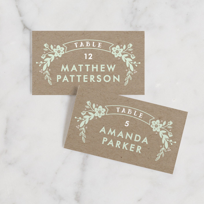 """Ampersand Floral"" - Rustic Wedding Place Cards in Mint by Alethea and Ruth."