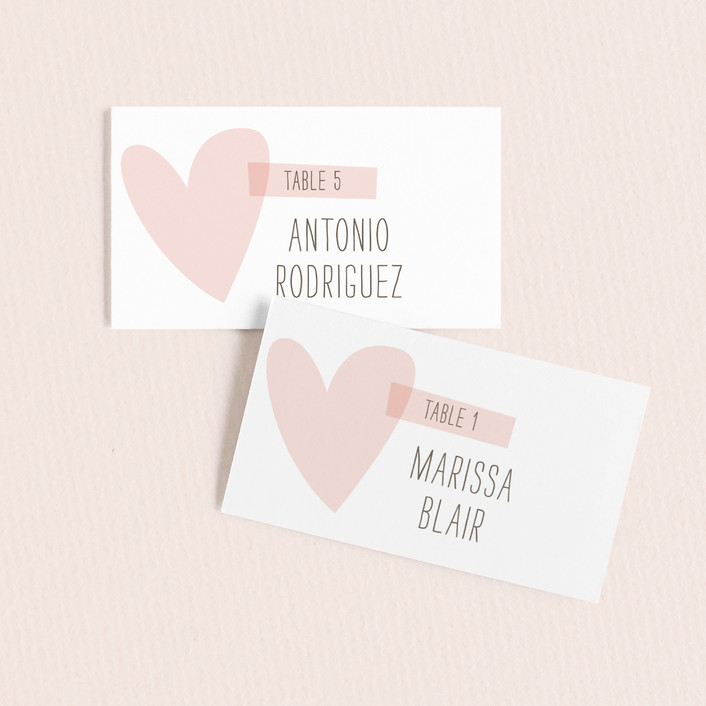 """""""Simply Love"""" - Modern, Whimsical & Funny Wedding Place Cards in Soft Pink by Aspacia Kusulas."""
