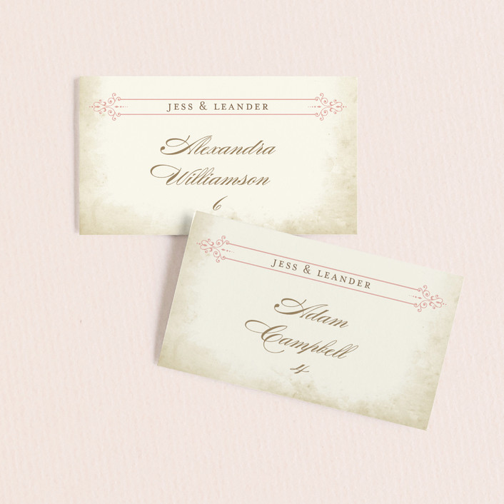 """Rustic Queen Anne"" - Classical, Floral & Botanical Wedding Place Cards in Vintage Rose by Brynn Rose Designs."