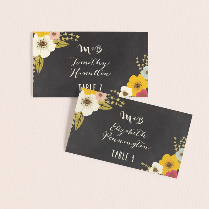 """""""Plentiful Blossoms"""" - Floral & Botanical, Rustic Wedding Place Cards in Soft Peach by Faiths Designs."""