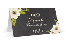 This is a white wedding place card by Faiths Designs called Plentiful Blossoms with standard printing on signature in placecard.