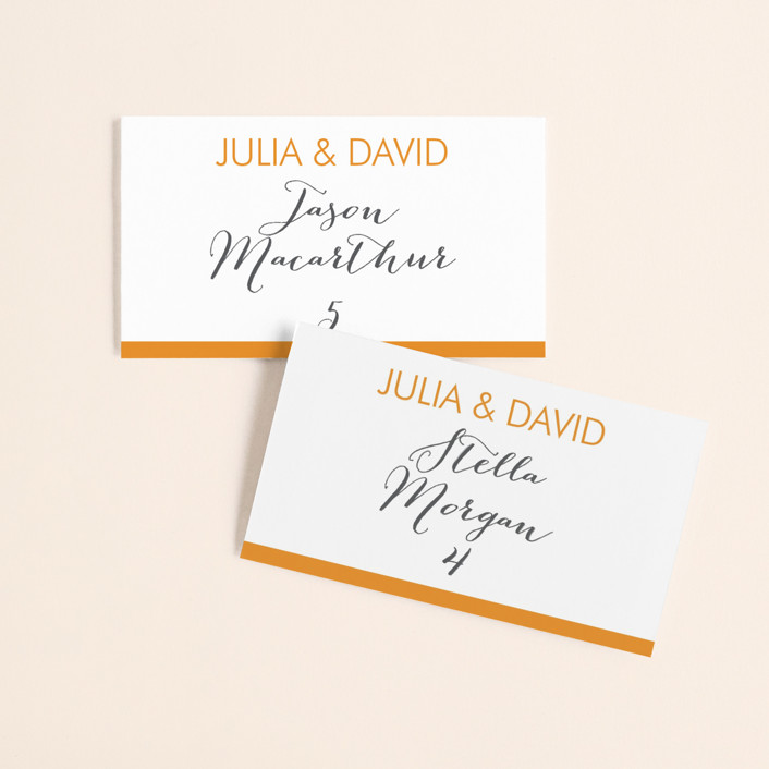 """Minimalist Display"" - Wedding Place Cards in Tangerine by Coco and Ellie Design."