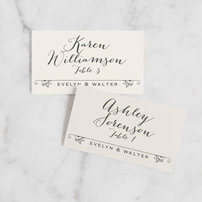 """A Blessed Union"" - Vintage, Rustic Wedding Place Cards in Cream by GeekInk Design."