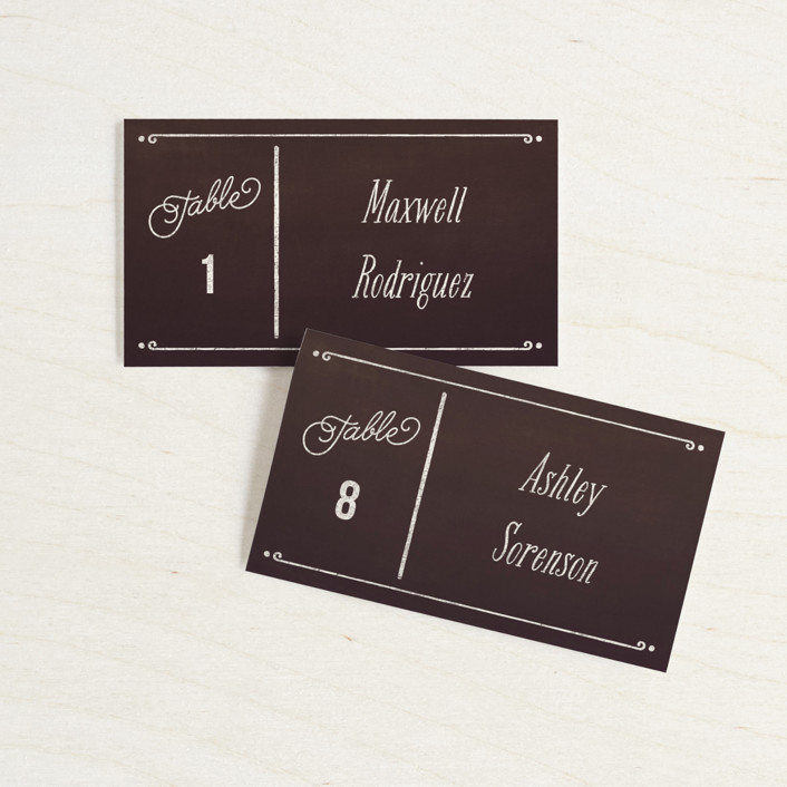 """""""Slated Forever"""" - Rustic Wedding Place Cards in Chalkboard by GeekInk Design."""