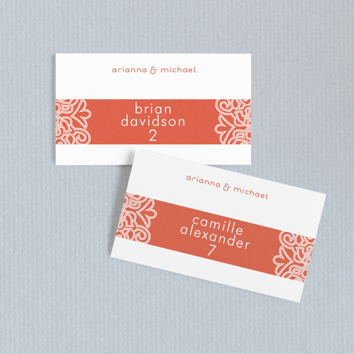 """Love Blossoms"" - Bohemian Wedding Place Cards in Persimmon by Guess What Design Studio."