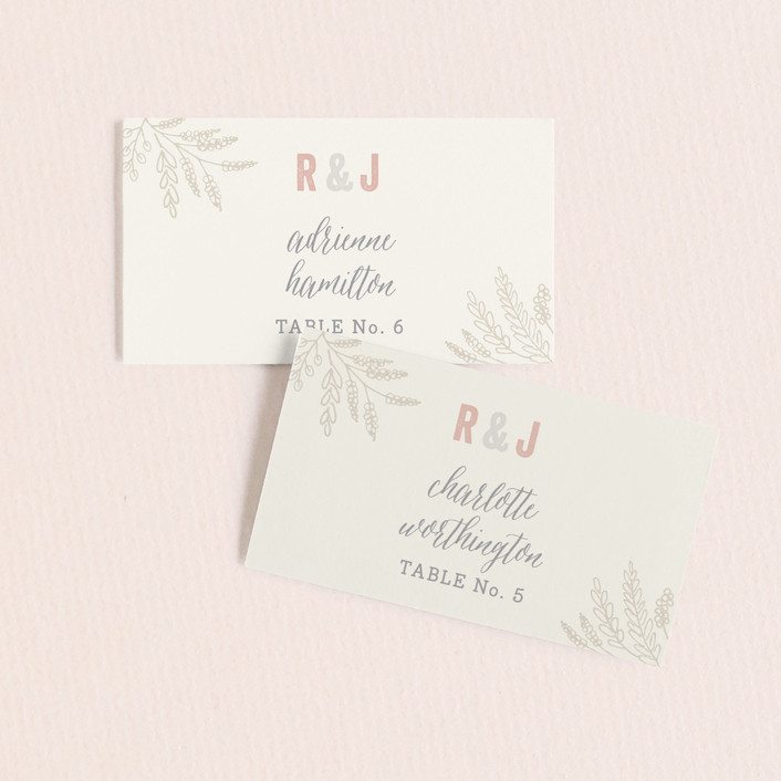 """""""Rustic Charm"""" - Rustic Wedding Place Cards in Petal by Hooray Creative."""