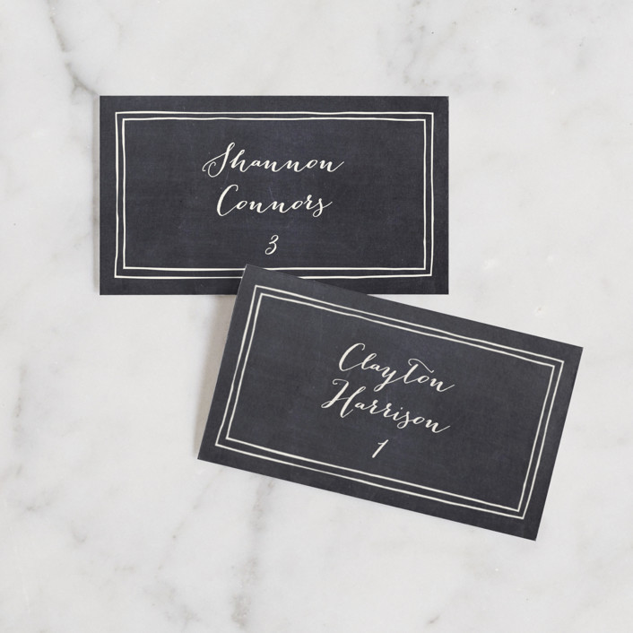 """""""Alabaster Florals"""" - Rustic Wedding Place Cards in Slate by Jennifer Wick."""