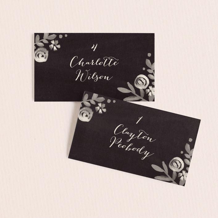 """Sun Bleached Florals"" - Rustic Wedding Place Cards in Blackboard by Jennifer Wick."
