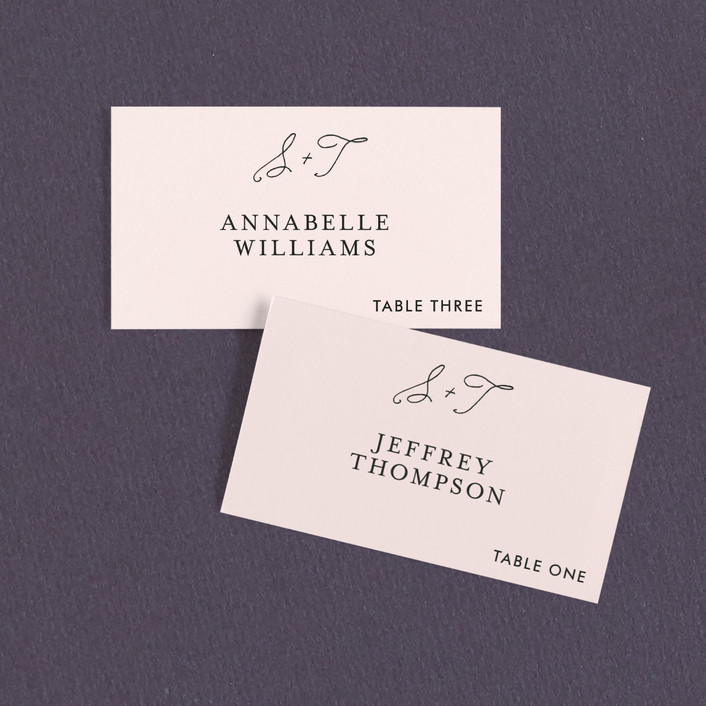 """Estate"" - Preppy Wedding Place Cards in Blush by Kim Dietrich Elam."