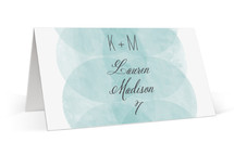 This is a blue wedding place card by Kristie Kern called Bliss with standard printing on signature in placecard.