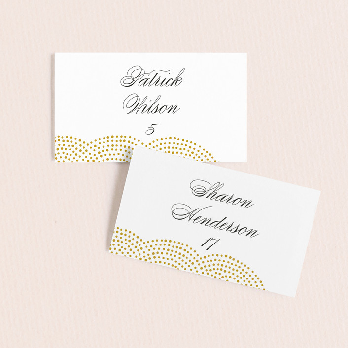 """""""Majestic"""" - Whimsical & Funny, Vintage Wedding Place Cards in Champagne by Oscar & Emma."""