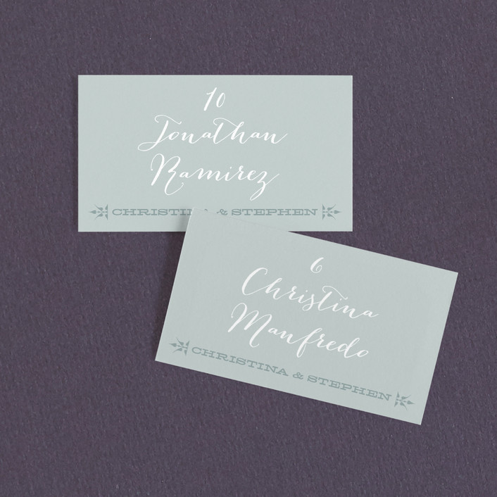 """Woodtype Poster"" - Bold typographic, Vintage Wedding Place Cards in Seafoam by Paper Dahlia."