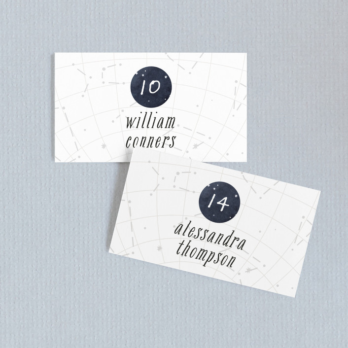 """""""Constellations"""" - Rustic Wedding Place Cards in Deep Blue by SimpleTe Design."""