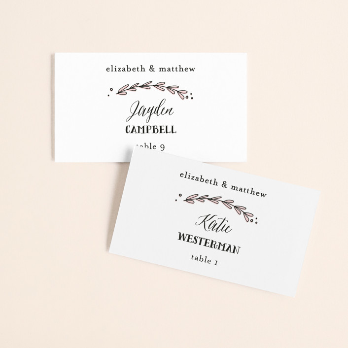 """""""Always"""" - Wedding Place Cards in Blush by Susan Brown."""