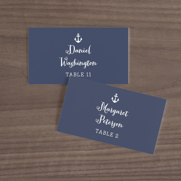 """""""Down by the Sea"""" - Preppy Wedding Place Cards in Marine by Sandra Picco Design."""