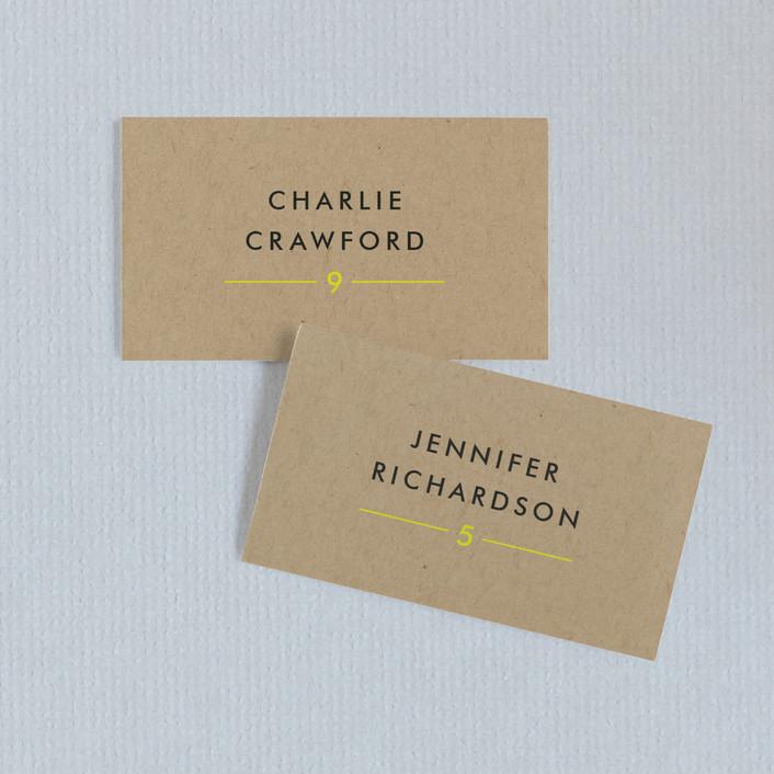 """Vintage Kraft"" - Modern Wedding Place Cards in Chartreuse by Waldo Press."