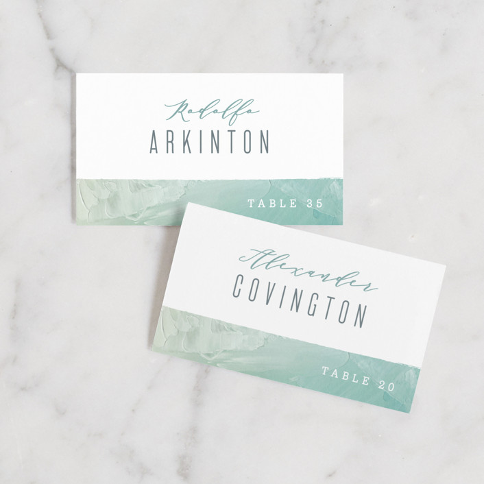 """Painted Sea"" - Wedding Place Cards in Seafoam by Hooray Creative."